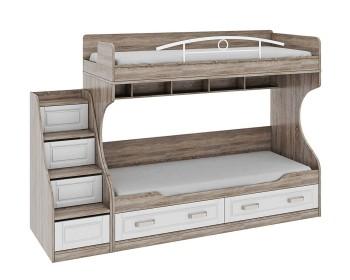 Кровать двухъярусная с лестницей с ящиками Прованс