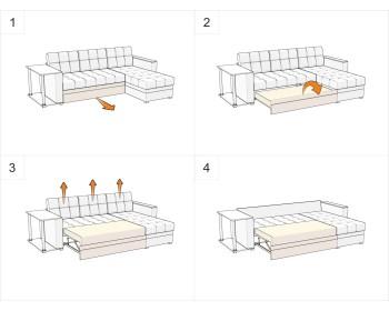 Диван угловой Атланта-М Плюш Браун со столиком